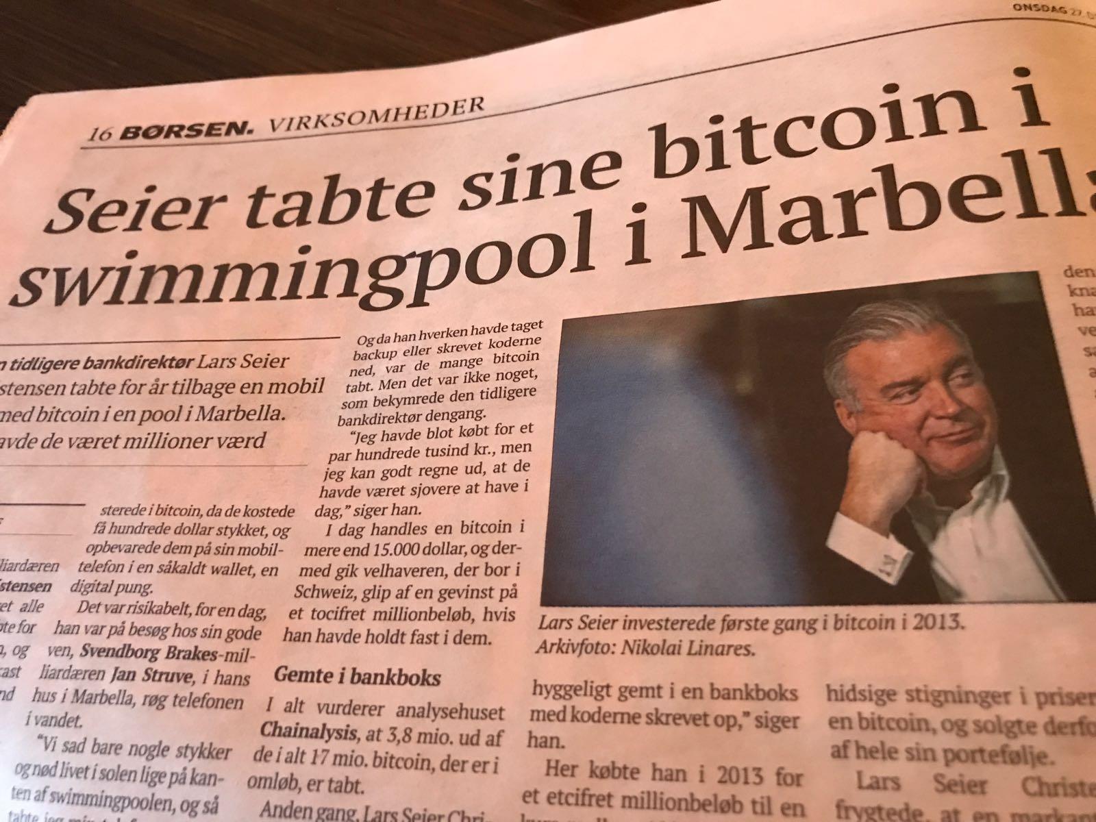 Seier lost his bitcoins in a swimmingpool